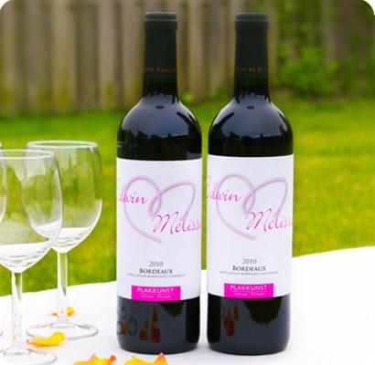 Trouwdecoratie Wijnfles etiketten Hart