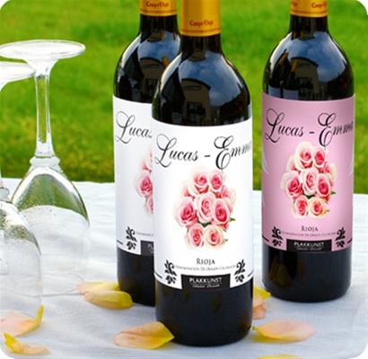 Trouwdecoratie Wijnflesetiketten Rozen