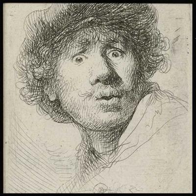 Poster & Gallery prints Zelfportret met baret en opengesperde ogen, Poster