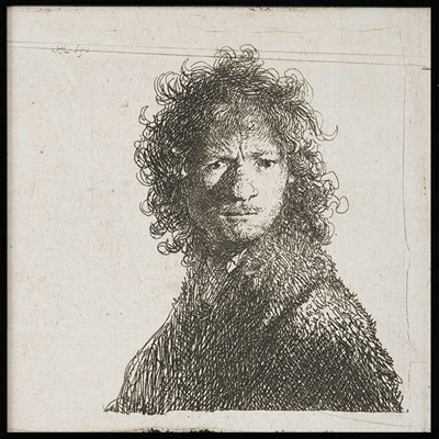 Poster & Gallery prints Zelfportret Rembrandt met pen, Poster