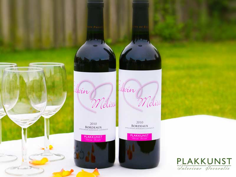 Wijnfles etiketten Hart