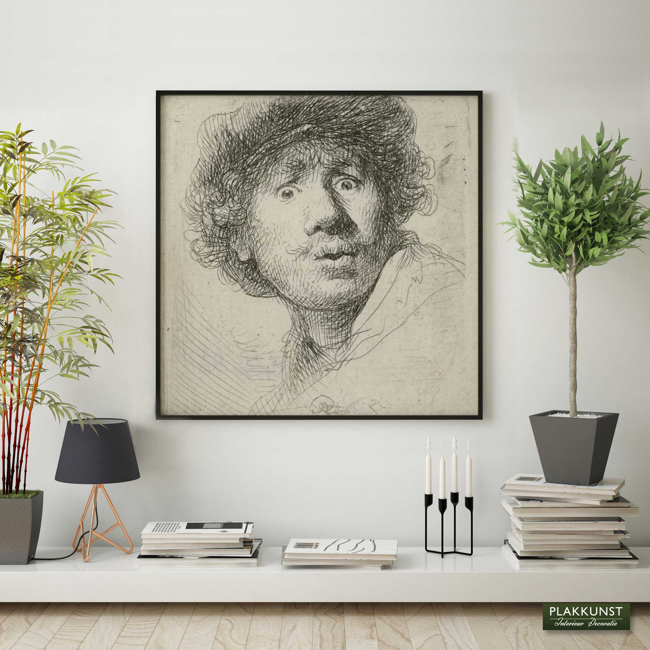 Zelfportret met baret en opengesperde ogen, Poster