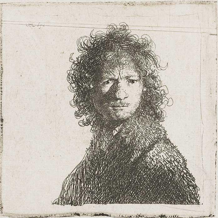 Zelfportret Rembrandt met pen, Poster