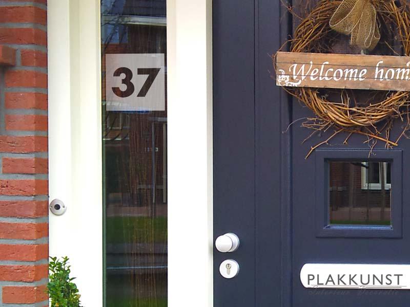 Huisnummer transparant raamfolie