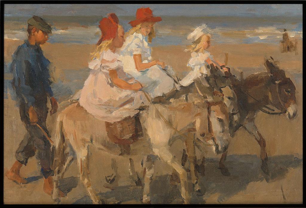 Ezeltje rijden langs het strand, Poster